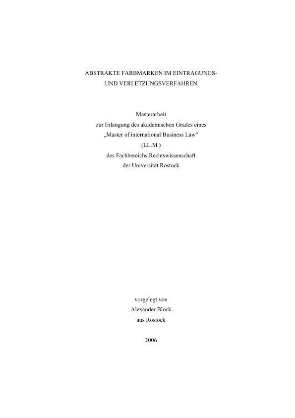 Abstrakte Farbmarken im Eintragungs- und Verletzungsverfahren ...