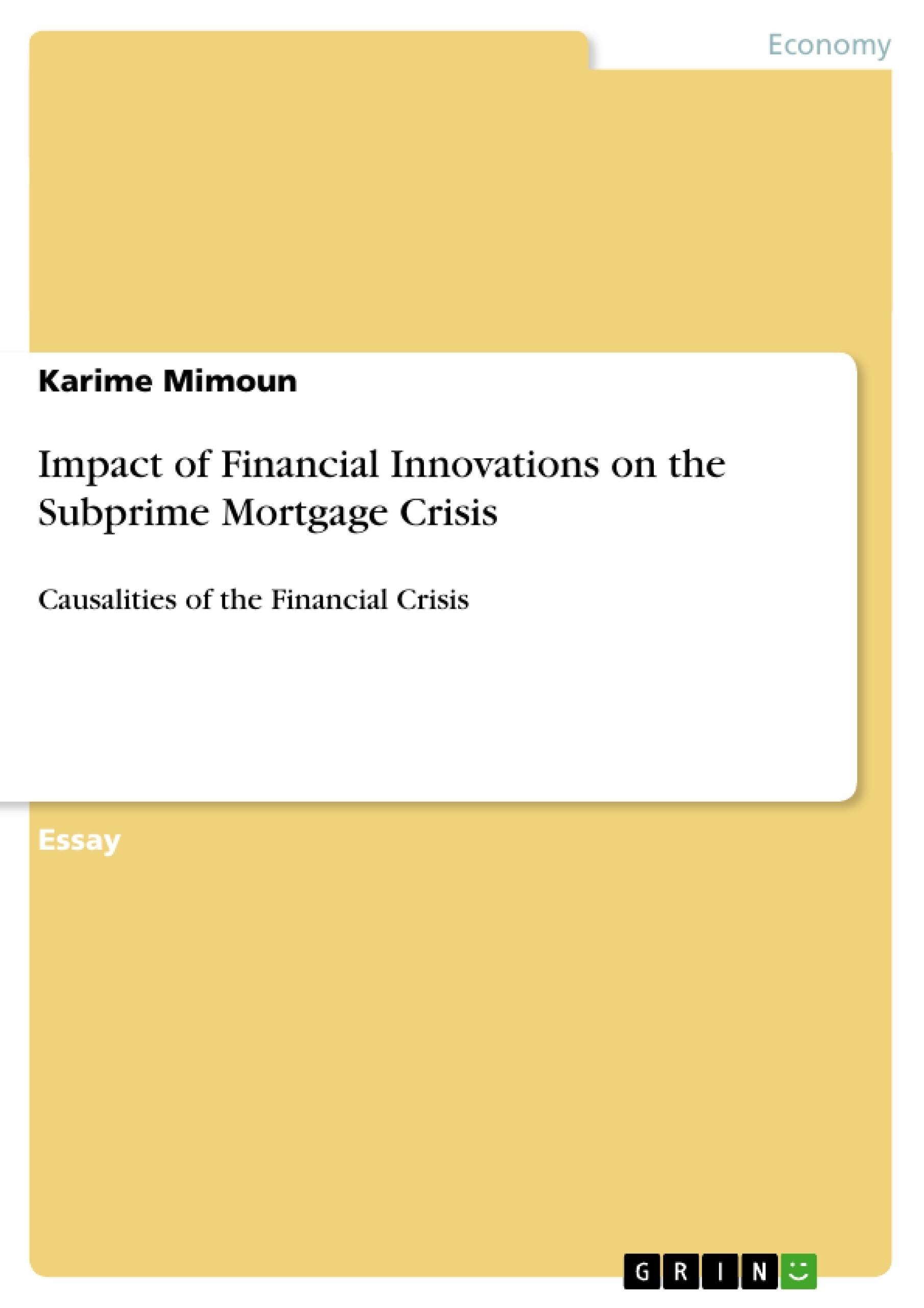 Thesis on subprime crisis