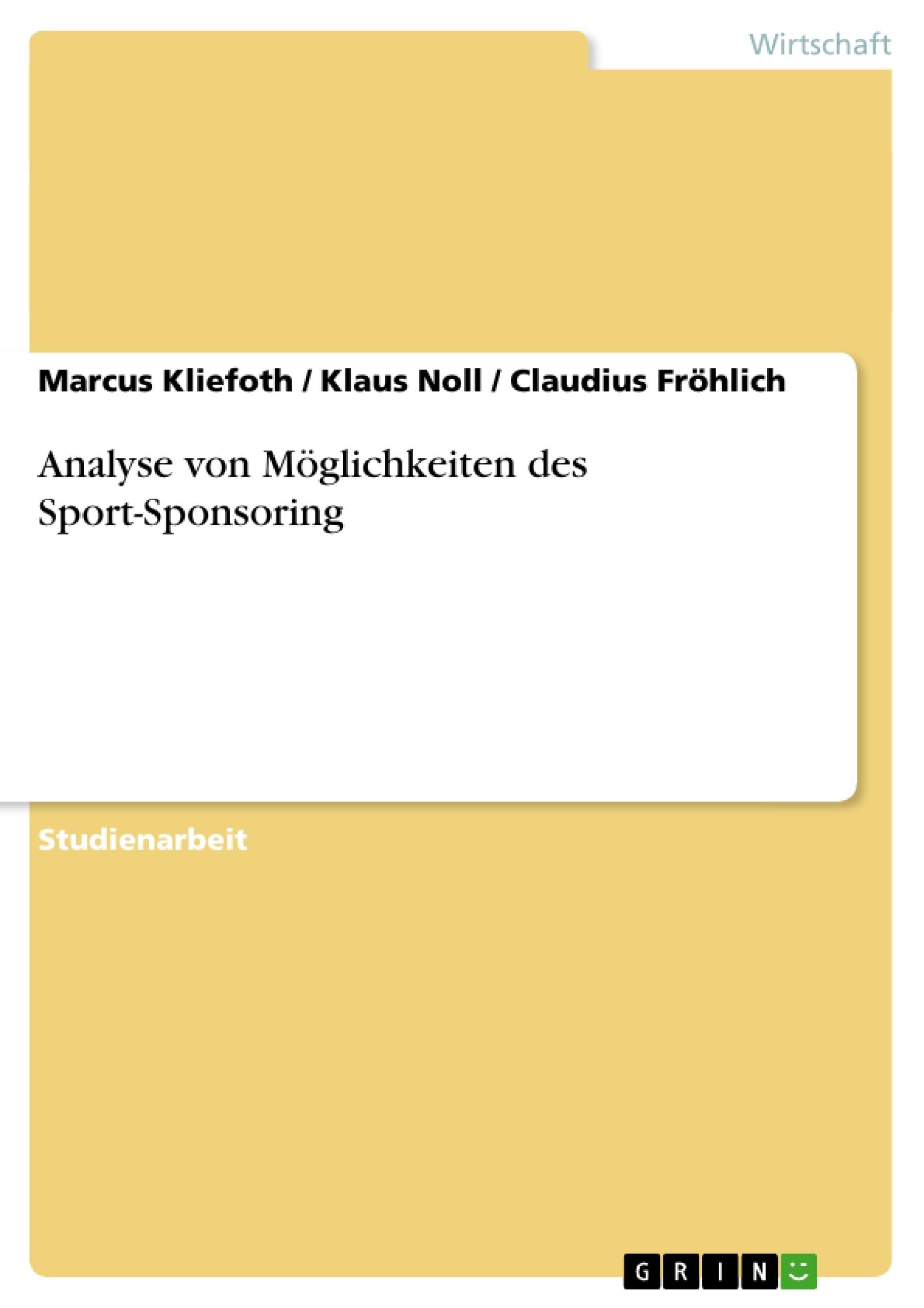 Analyse von Möglichkeiten des Sport-Sponsoring | Masterarbeit ...