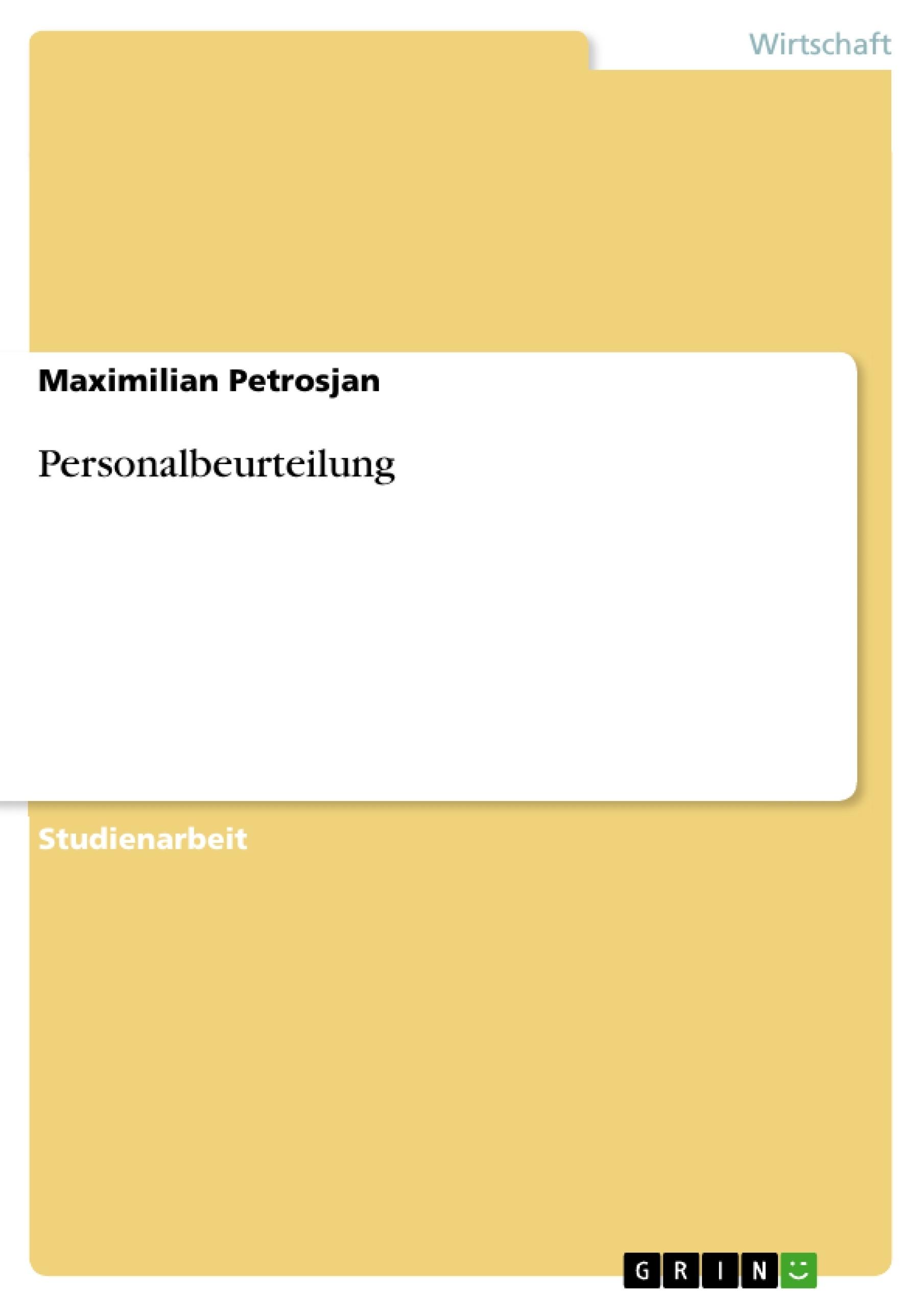 Personalbeurteilung   Masterarbeit, Hausarbeit, Bachelorarbeit ...