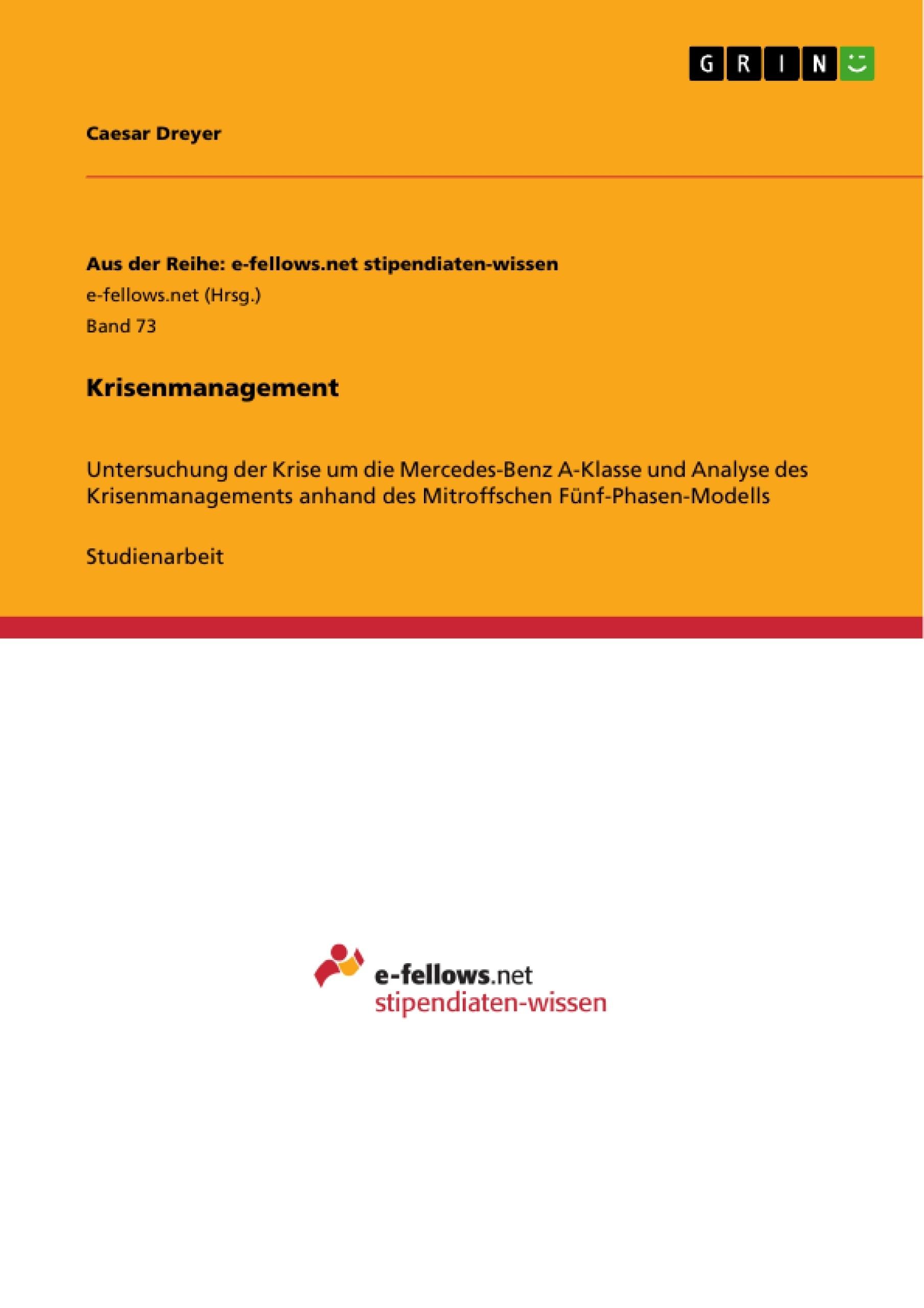 Krisenmanagement   Masterarbeit, Hausarbeit, Bachelorarbeit ...
