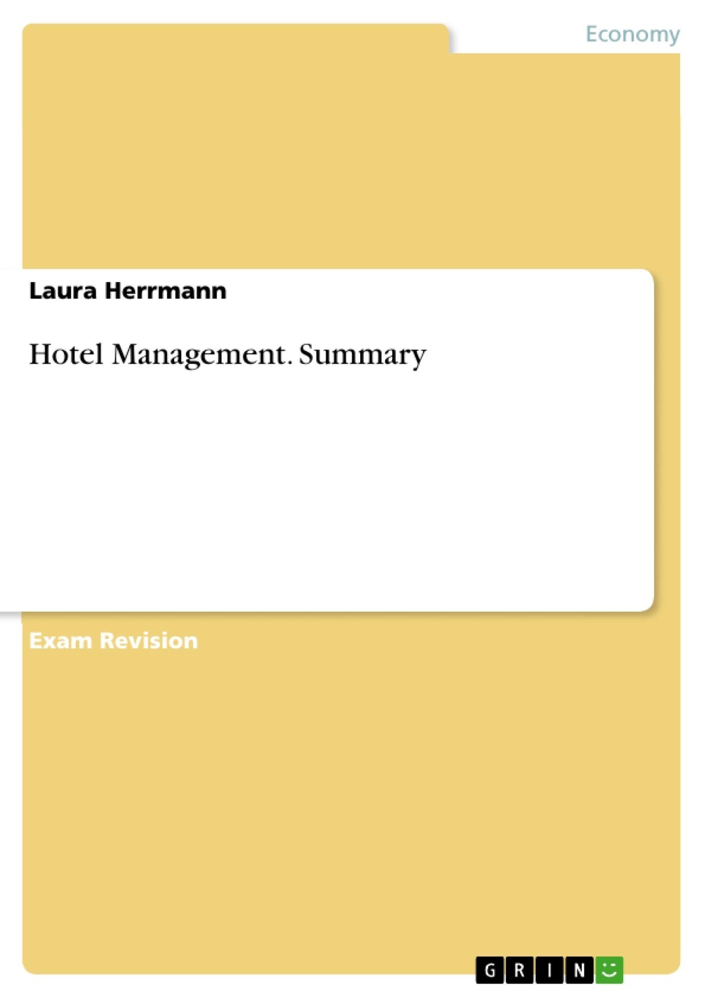 Schön Hospitality Management Zusammenfassung Zusammenfassung Ideen ...