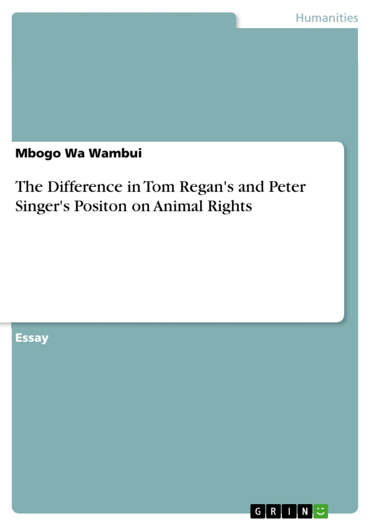 the difference in tom regan s and peter singer s positon on animal  upload your own papers earn money and win an iphone x