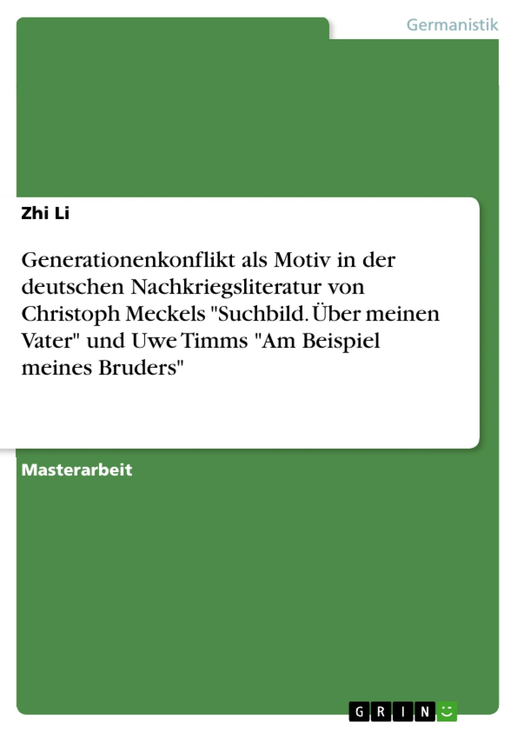 Generationenkonflikt als Motiv in der deutschen ...   Masterarbeit ...