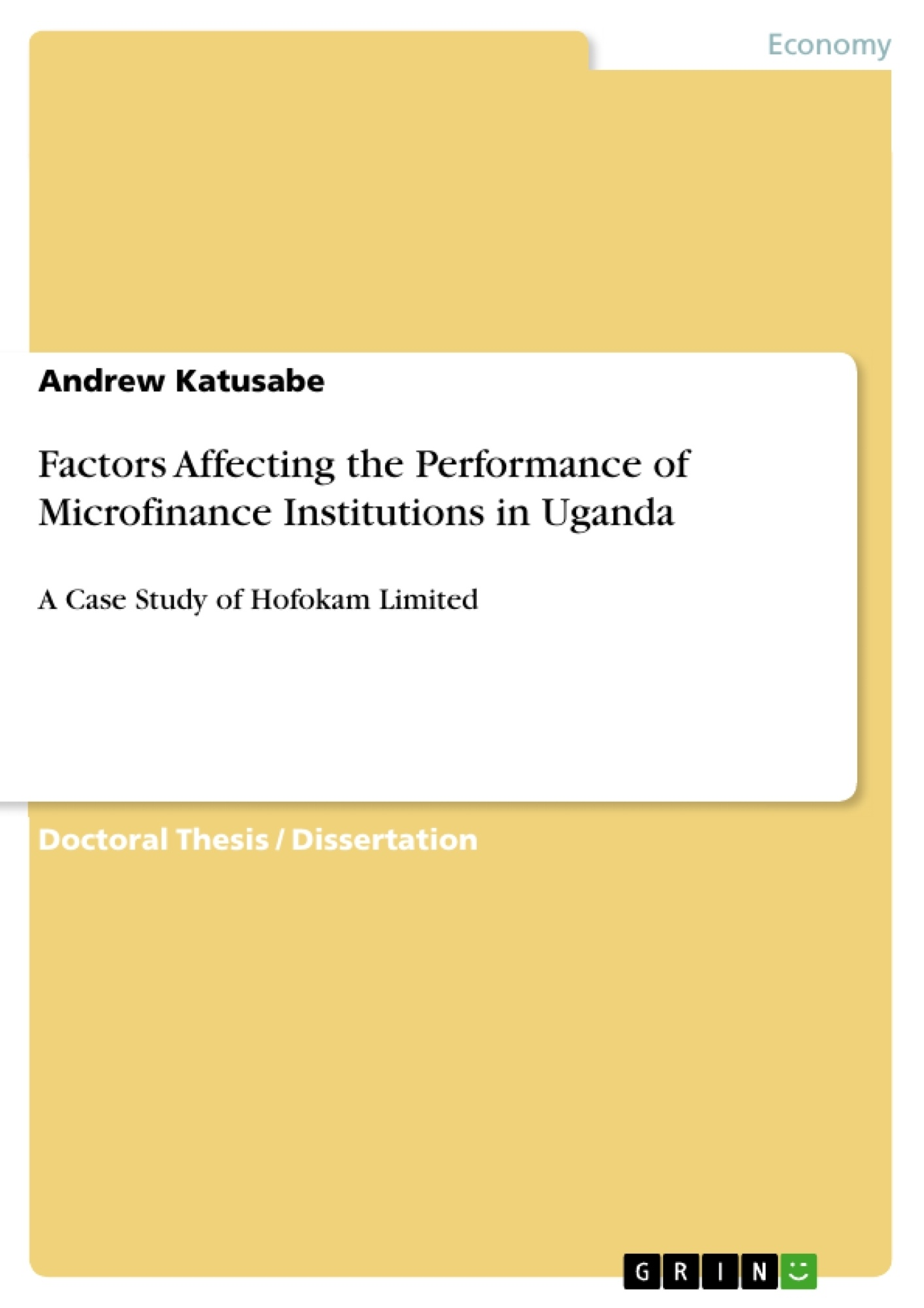 Master thesis microfinance