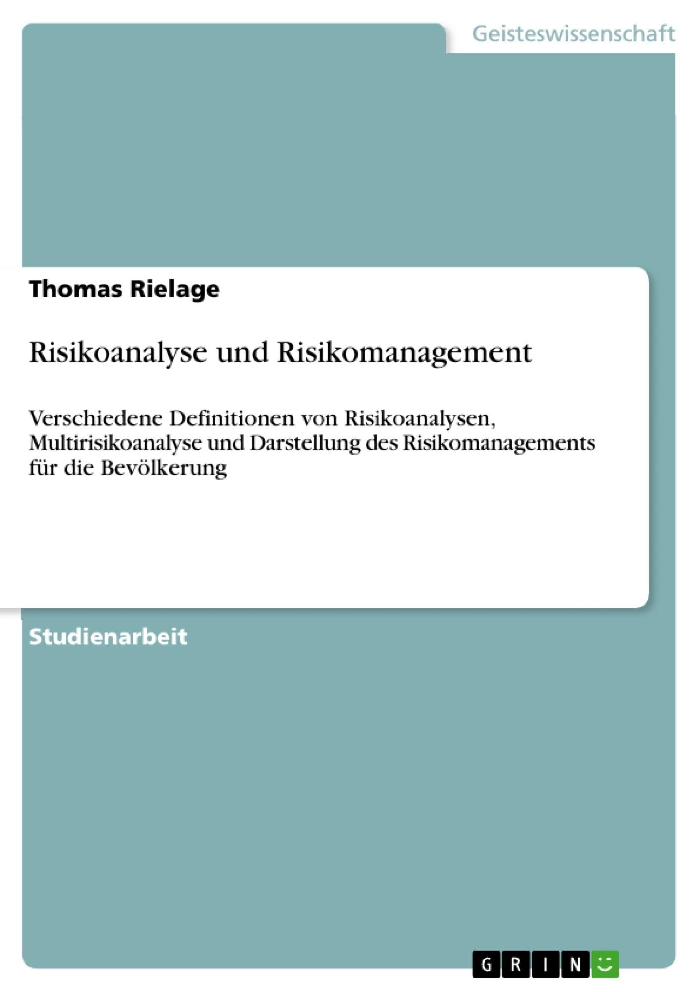 Risikoanalyse und Risikomanagement | Masterarbeit, Hausarbeit ...