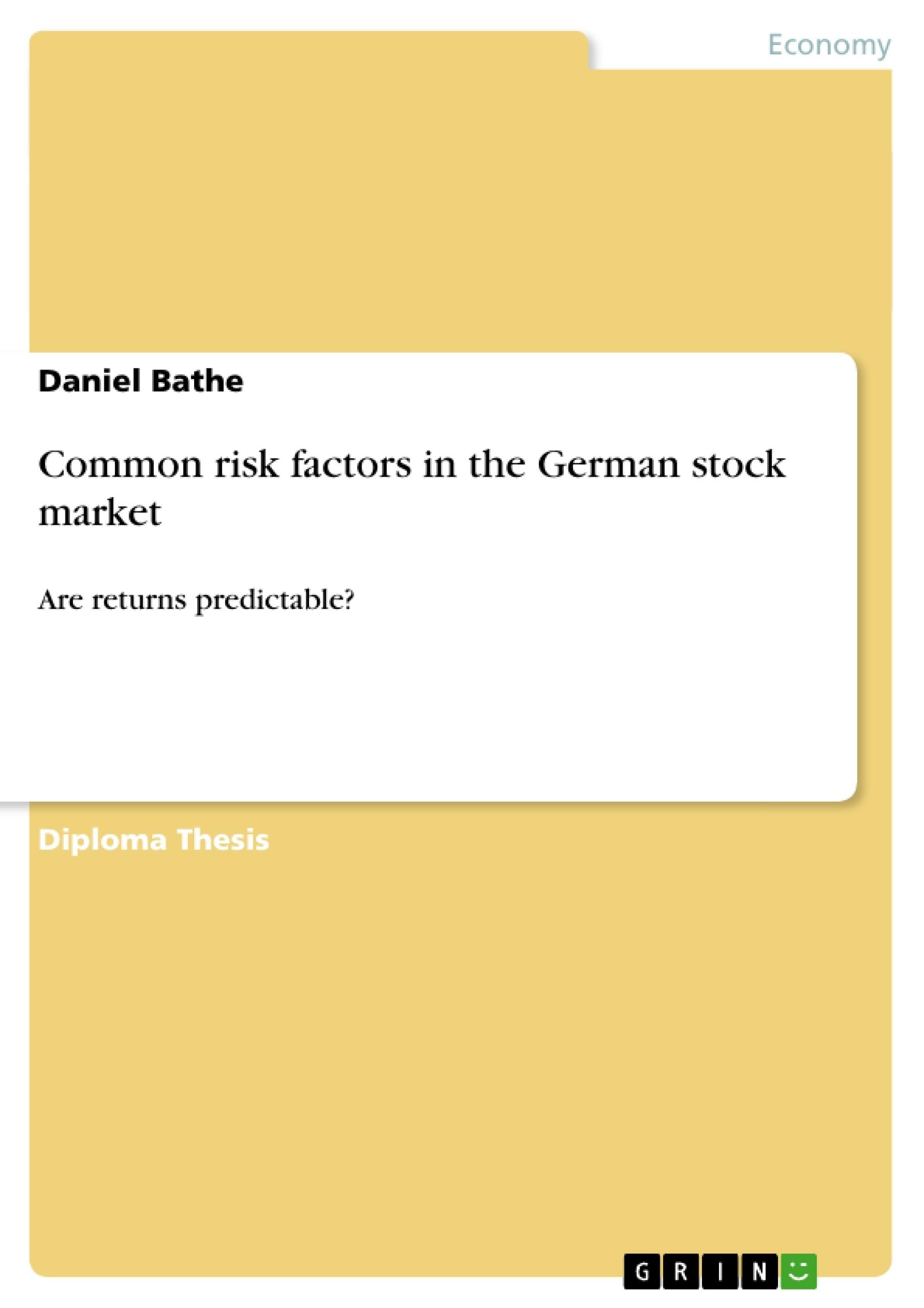 master thesis stock market