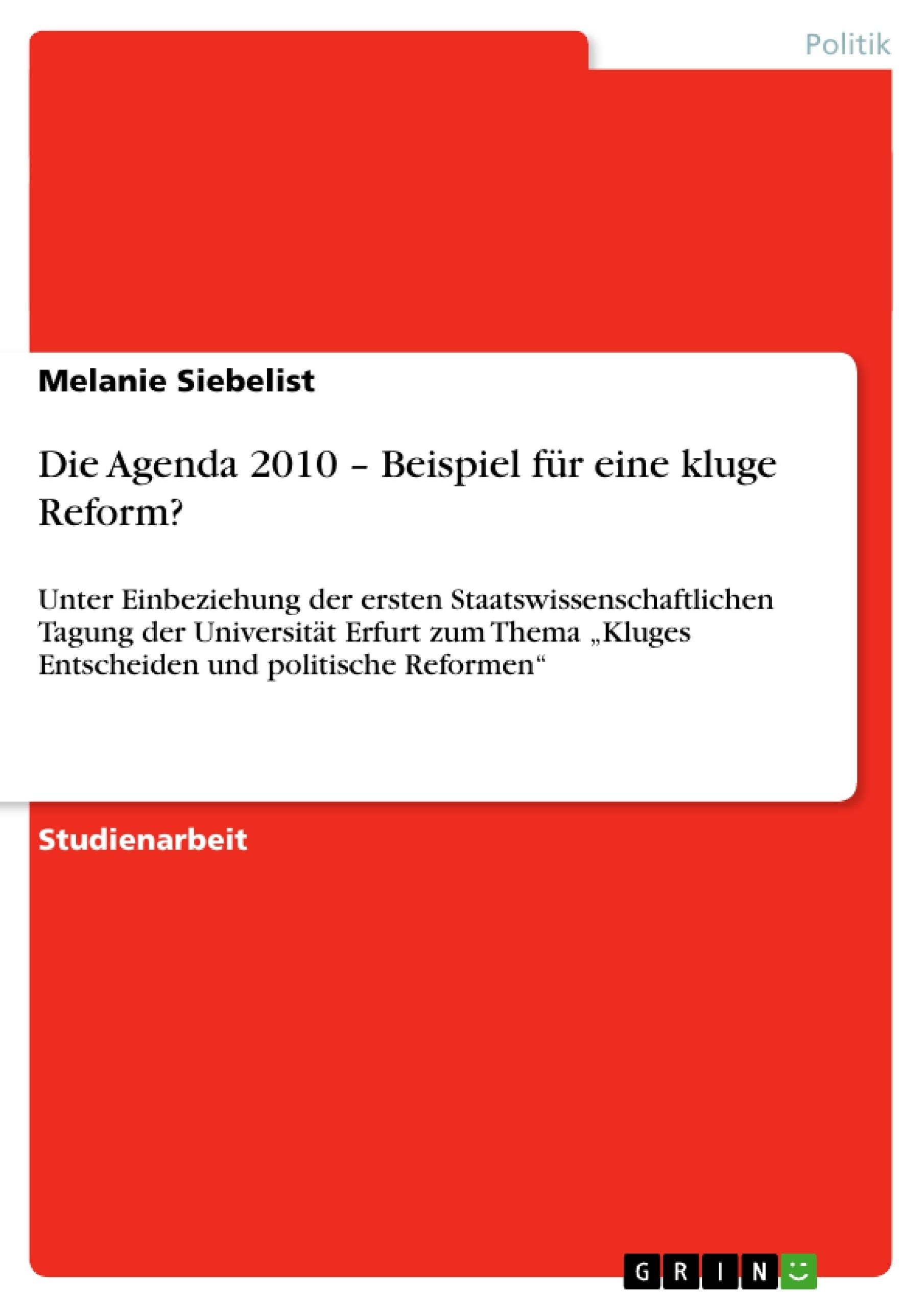 Die Agenda 2010 – Beispiel für eine kluge Reform?   Masterarbeit ...