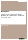Title: Criteria for the Appropriate Solution of Problems of Local Importance in Selected EU-Member States