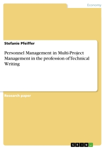 Title: Personnel Management in Multi-Project Management in the profession of Technical Writing