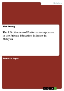 the effectiveness of performance appraisal in the private  the effectiveness of performance appraisal in the private education industry in