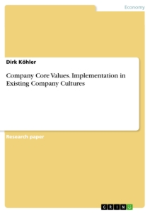 company core values implementation in existing company cultures  company core values implementation in existing company cultures