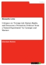 """Title: Critiques on """"Foreign Aid, Human Rights, and Democracy Promotion: Evidence from a Natural Experiment"""" by Carnegie and Marinov"""