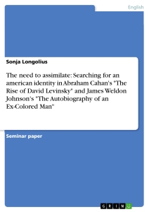 """Title: The need to assimilate: Searching for an american identity in Abraham Cahan's """"The Rise of David Levinsky"""" and James Weldon Johnson's """"The Autobiography of an Ex-Colored Man"""""""